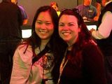 """Kristine Ishii, aka """"Nanogirl"""" (in gray).  She was one of the world's best Starcraft players when she was hired at the age of 21 by Big Huge Games to do multiplayer balancing for Rise of Nations."""